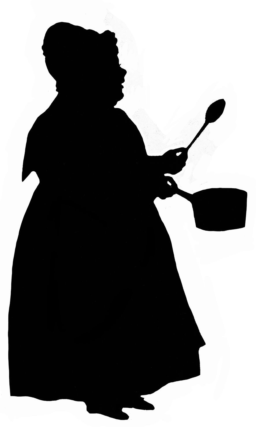 Woman silhouette cooking clipart svg royalty free library Silhouette of woman with pot and spoon | Black & White ... svg royalty free library