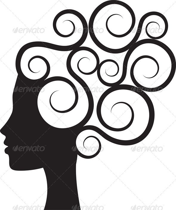 Hair silhouette clipart clip art black and white stock Silhouette of Woman\'s Profile with Curly Hair | Files for ... clip art black and white stock