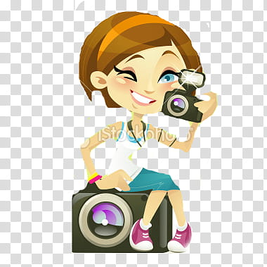 Woman sitting holding mirror clipart banner free library Nenas, woman holding camera illustration transparent ... banner free library