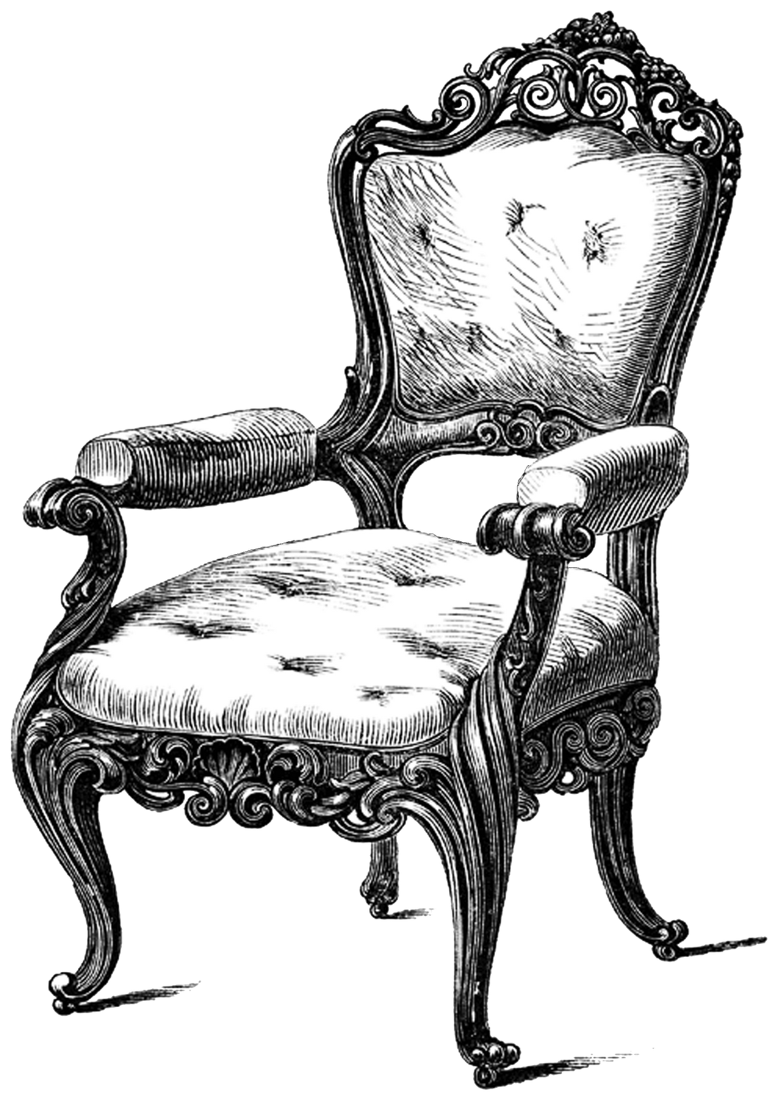Woman sittnig in a chair with crown clipart image library download Tons of free Yummy ViNTaGE Furniture Printables to use for all of ... image library download
