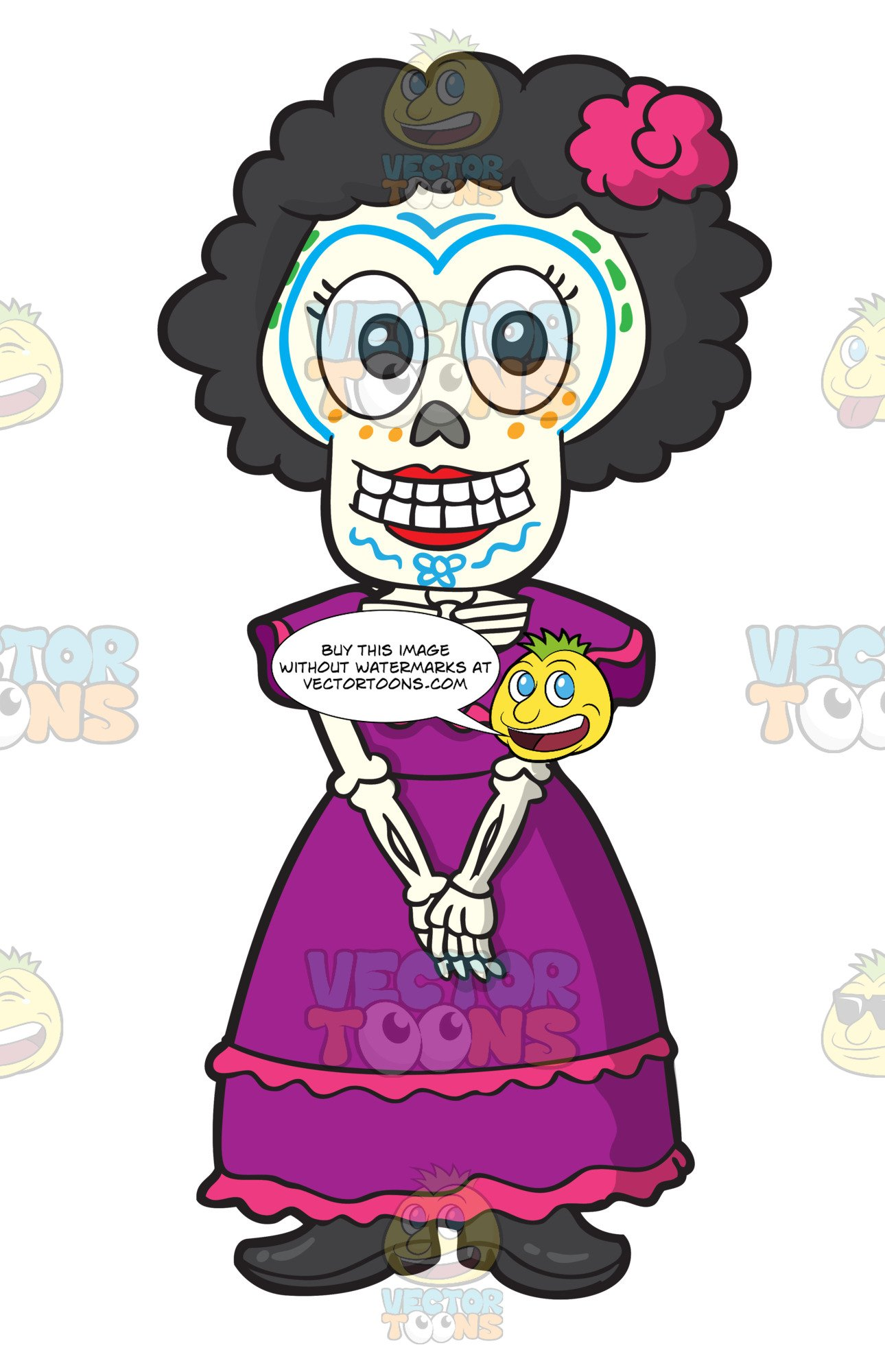 Woman skeleton with hair clipart svg stock Day Of The Dead Skeleton Of A Shy Woman svg stock
