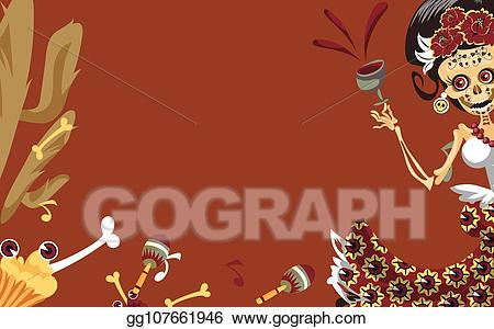 Woman skeleton with hair clipart png freeuse library Vector Art - Woman skeleton at day of the dead party poster ... png freeuse library