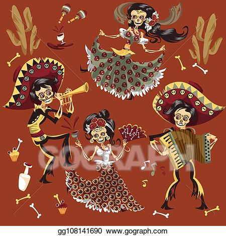 Woman skeleton with hair clipart png download Vector Stock - Day of dead mexican skeleton party set ... png download