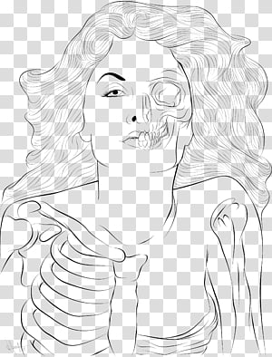 Woman skeleton with hair clipart vector royalty free stock Persephone Lineart, woman and skeleton sketch transparent ... vector royalty free stock
