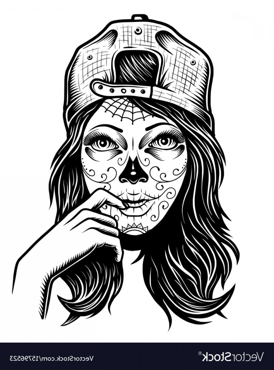 Woman skeleton with hair clipart graphic black and white library Girl Skull Drawing at PaintingValley.com | Explore ... graphic black and white library