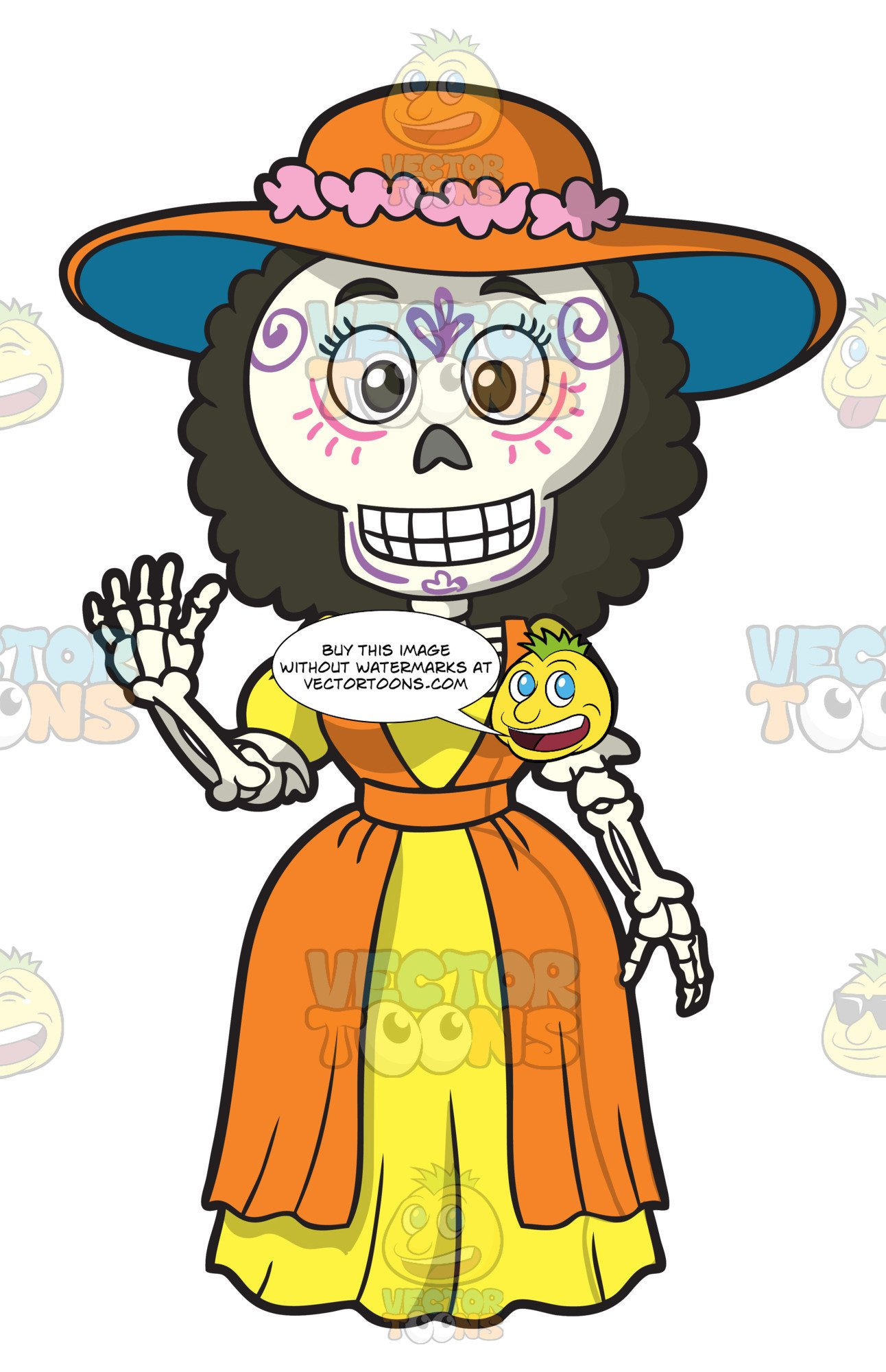 Woman skeleton with hair clipart picture transparent Day Of The Dead Skeleton Of A Pretty Woman picture transparent
