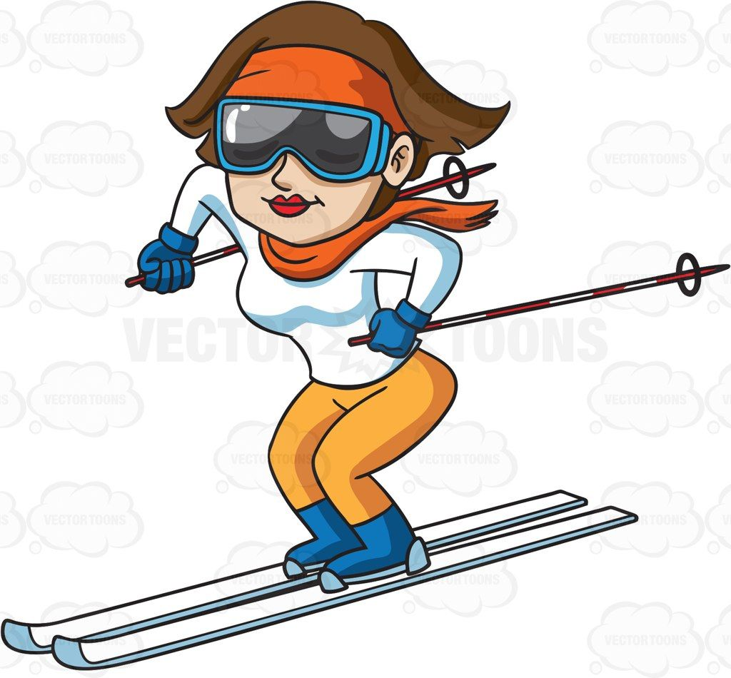 Woman skiing clipart graphic library A woman enjoying a good ski down the slope #cartoon #clipart ... graphic library