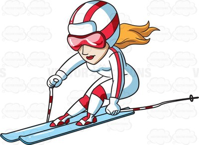 Woman skiing clipart