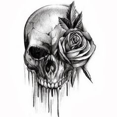 Woman skull tattoo clipart black and white free stock 26 Best Black Skulls And Roses Tattoos images in 2017 ... free stock