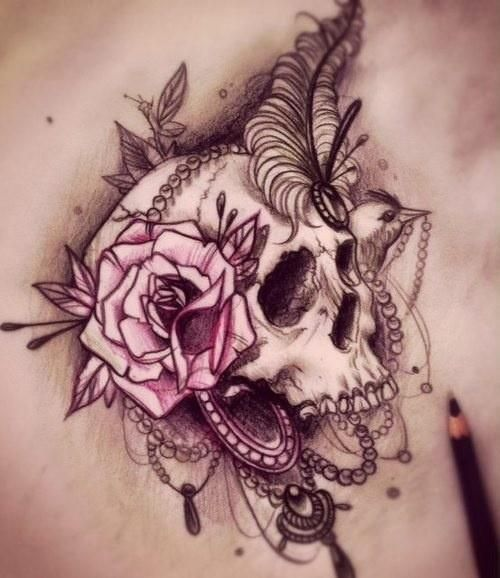 Woman skull tattoo clipart black and white jpg library Image result for beautiful skull tattoos for women | Tattoo ... jpg library