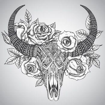 Woman skull tattoo clipart black and white svg free stock bull skull tattoos for women - Google Search | Tattoo ideas ... svg free stock