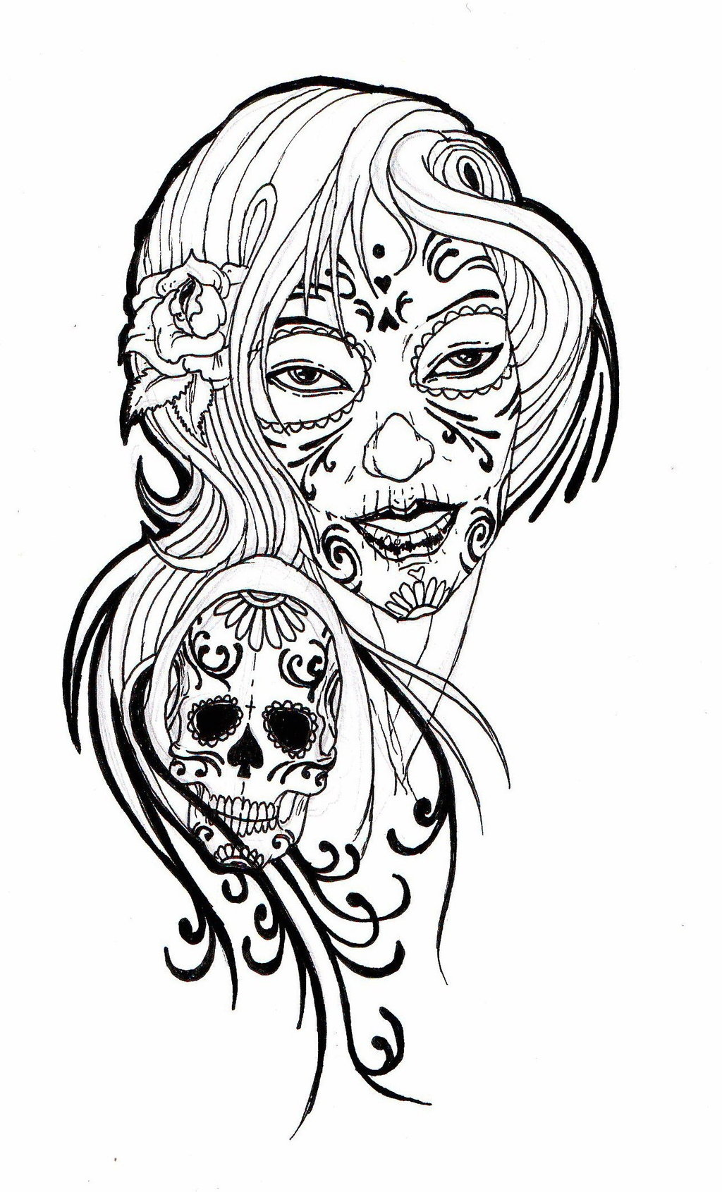 Woman skull tattoo clipart black and white image black and white Free Pictures Of Skull Tattoos, Download Free Clip Art, Free ... image black and white