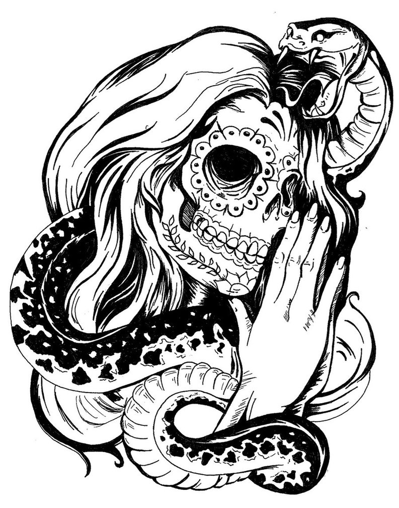 Woman skull tattoo clipart black and white vector library stock Woman skull tattoo clipart black and white - Clip Art Library vector library stock