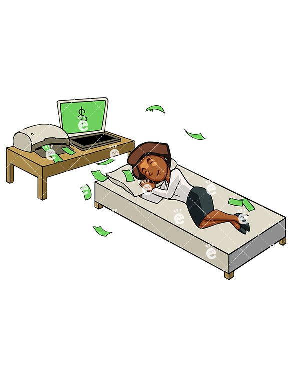 Woman sleeping at desk clipart image black and white download A Black Businesswoman Earning Money While Sleeping Near Her ... image black and white download