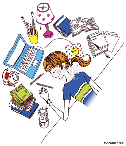 Woman sleeping at desk clipart vector royalty free library Woman sleeping on desk in office\