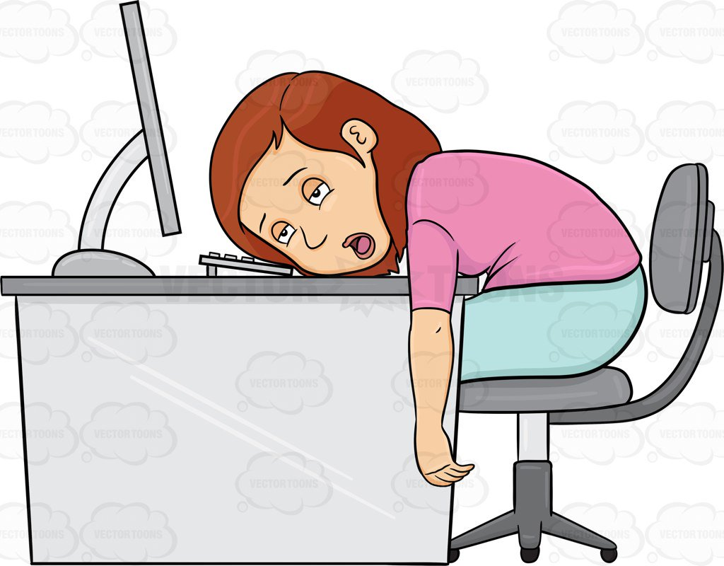 Woman tired clipart clip freeuse library Cartoon Clipart: A Woman Tired From Working On Her Computer ... clip freeuse library