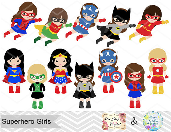 Woman superheros clipart clip free download 27 Superhero Girls Digital Clipart, Superhero Clip Art, Girl ... clip free download