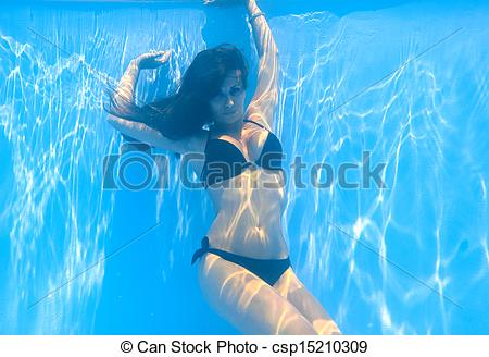 Woman swimming underwater clipart graphic Swimming Underwater Clipart graphic