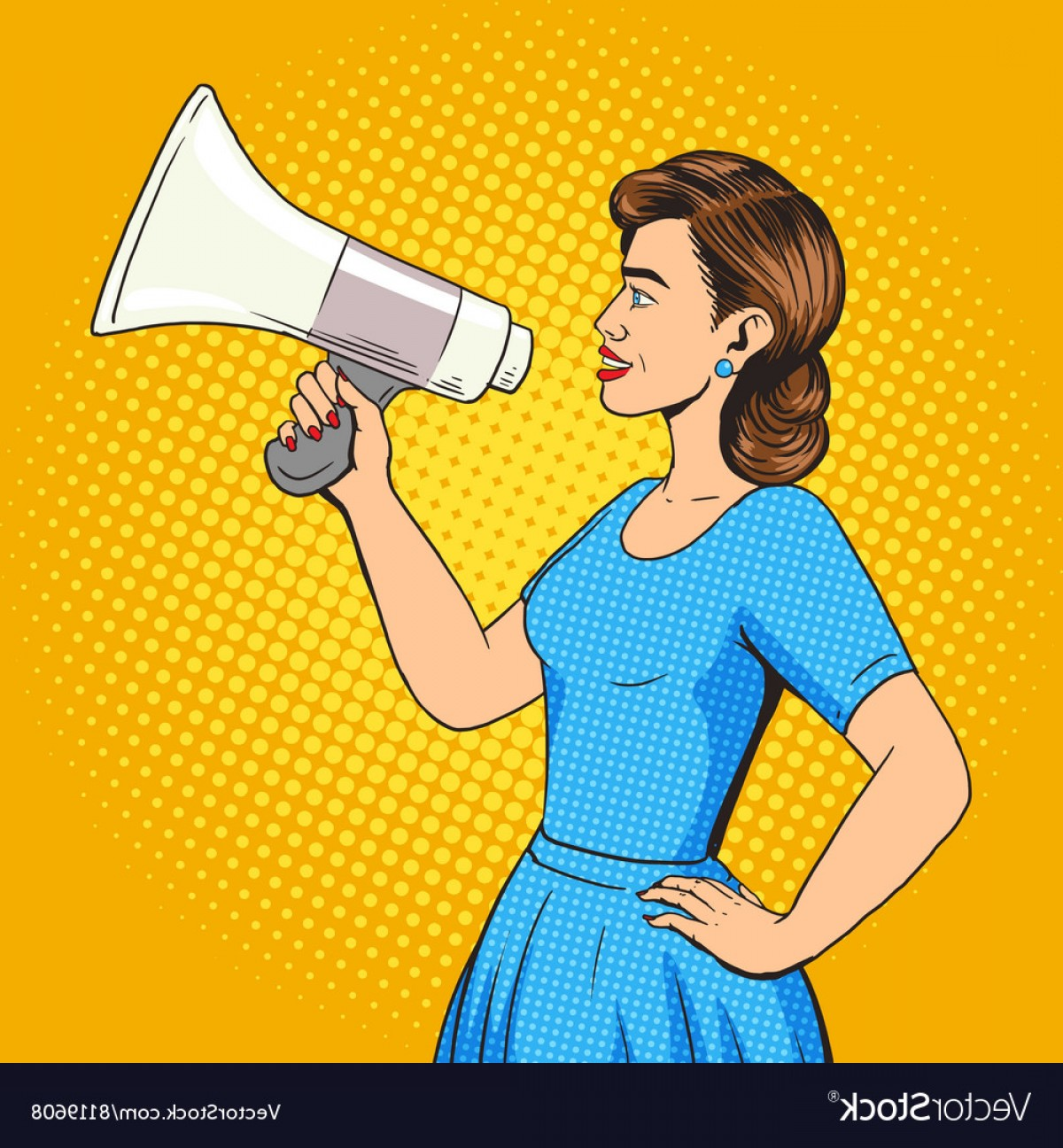 Woman talking behind megaphone clipart clipart Woman With Megaphone Pop Art Style Vector | SOIDERGI clipart