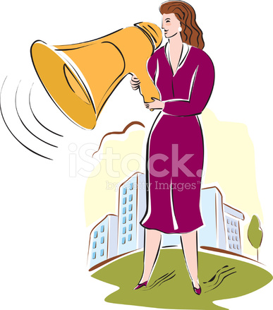 Woman talking behind megaphone clipart vector library Businesswoman Talking Through A Megaphone Stock Vector ... vector library
