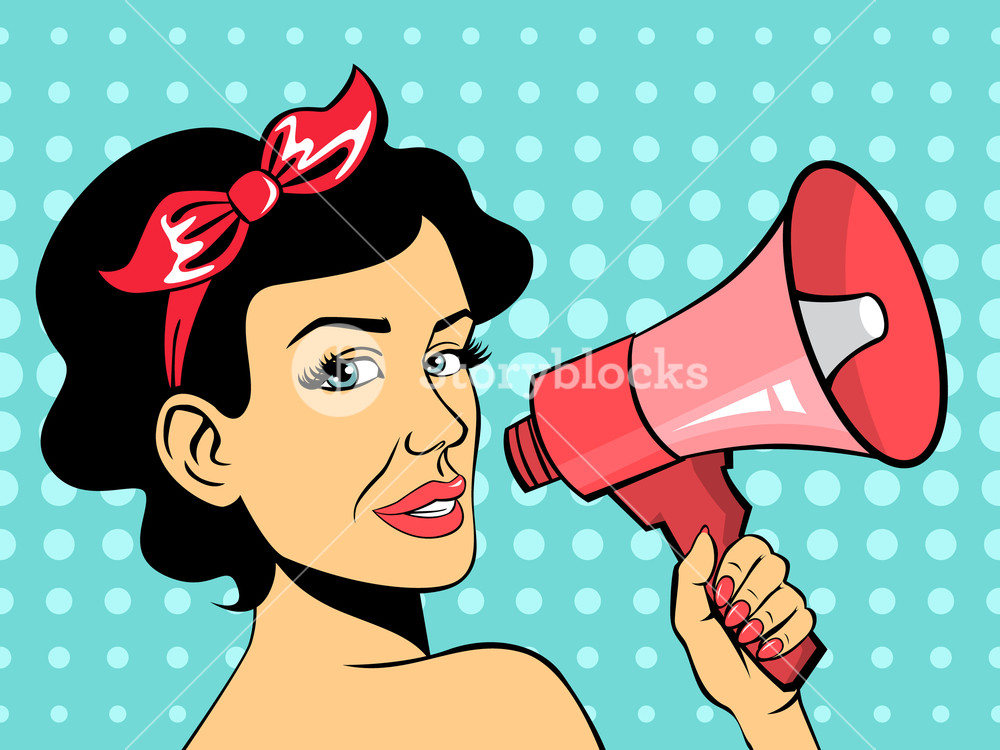 Woman talking behind megaphone clipart jpg transparent library Pop art woman talking using red megaphone Royalty-Free Stock ... jpg transparent library