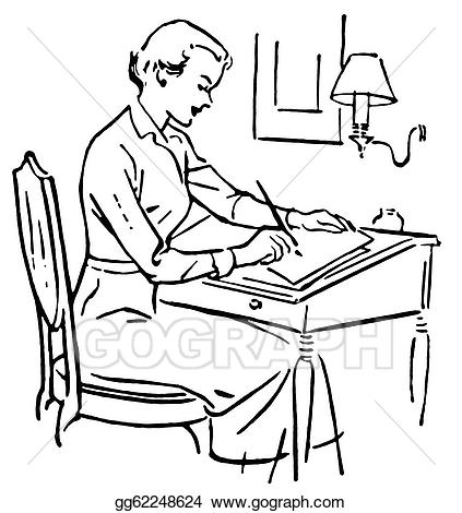 Woman writing hand clipart black png freeuse library Stock Illustration - A black and white version of a line ... png freeuse library
