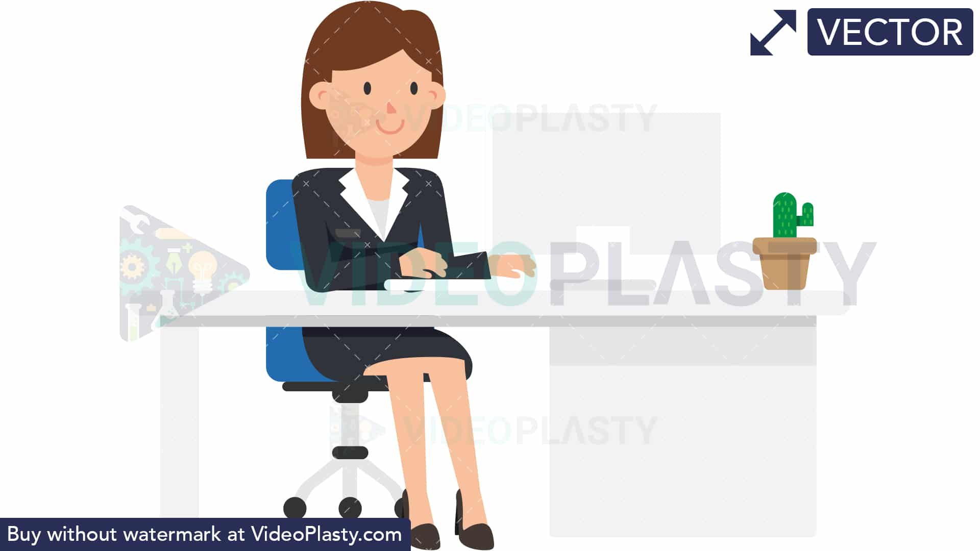 Woman working at computer desk clipart clip art transparent stock Corporate Woman Working at her Desk [VECTOR] clip art transparent stock