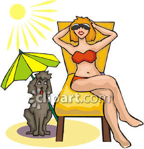 Woman tanning clipart clipart freeuse download Woman Suntanning Next To Her Dog Royalty Free Clipart Picture clipart freeuse download