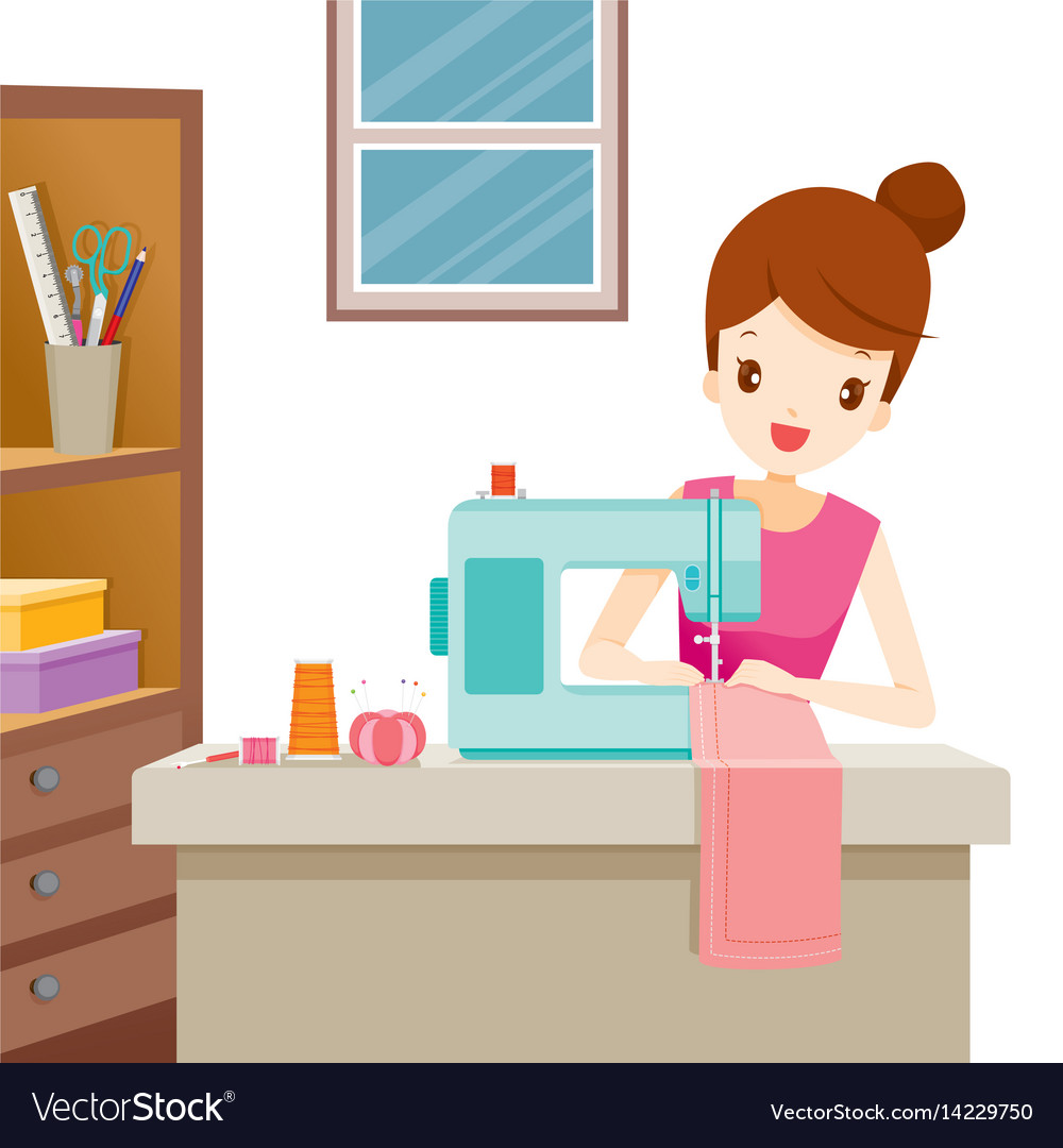 Woman using sewing machine clipart clip black and white library Woman sewing clothes by sewing machine clip black and white library