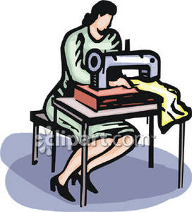Woman using sewing machine clipart free stock Woman Using Sewing Machine - Royalty Free Clipart Picture free stock