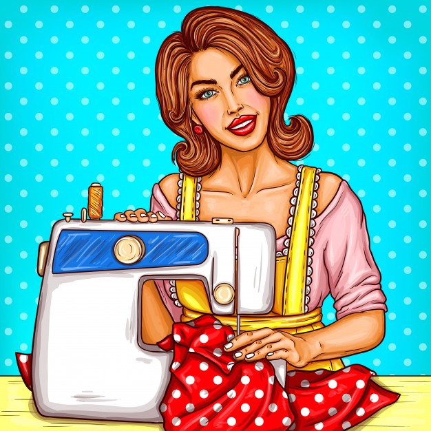 Woman using sewing machine clipart image freeuse library Vector pop art illustration of a young woman dressmaker ... image freeuse library