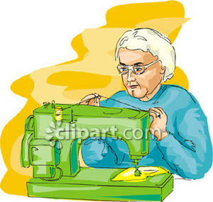 Woman using sewing machine clipart jpg freeuse stock Old Woman Using Sewing Machine - Royalty Free Clipart Picture jpg freeuse stock