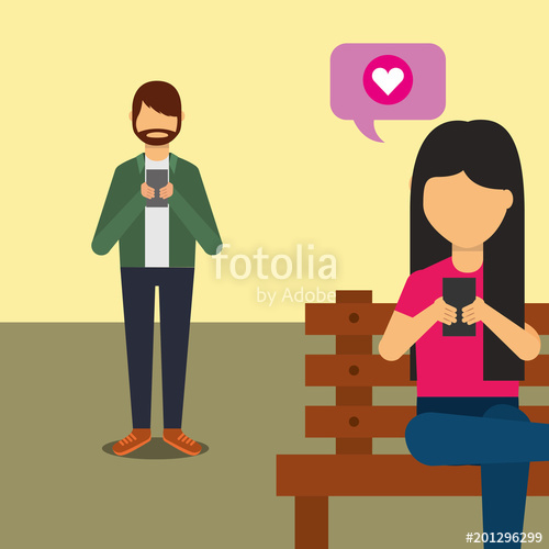 Woman using smartphone clipart banner freeuse download woman using smartphone sit on bench and man chatting with ... banner freeuse download