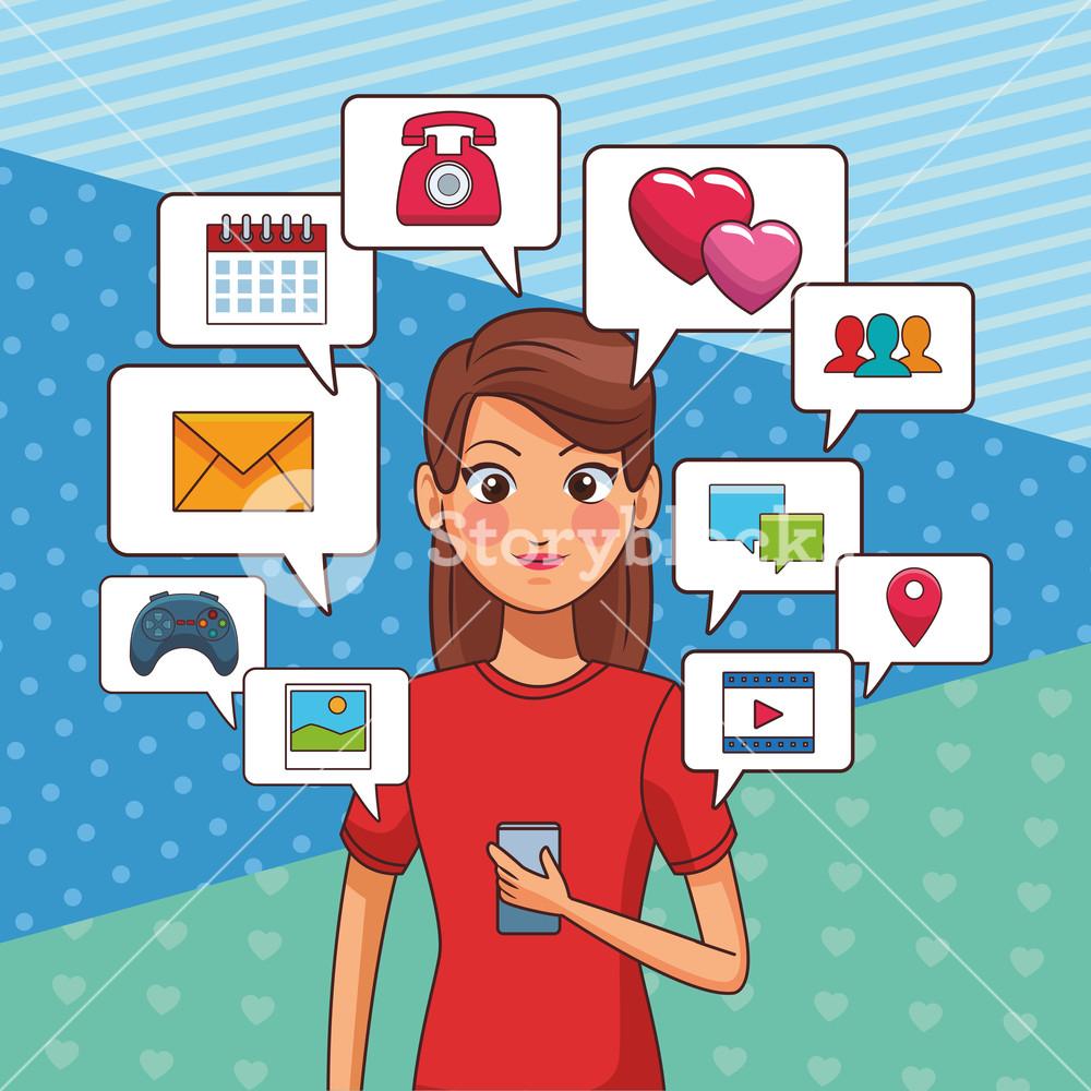 Woman using smartphone clipart jpg royalty free young woman using smartphone device with apps cartoon vector ... jpg royalty free