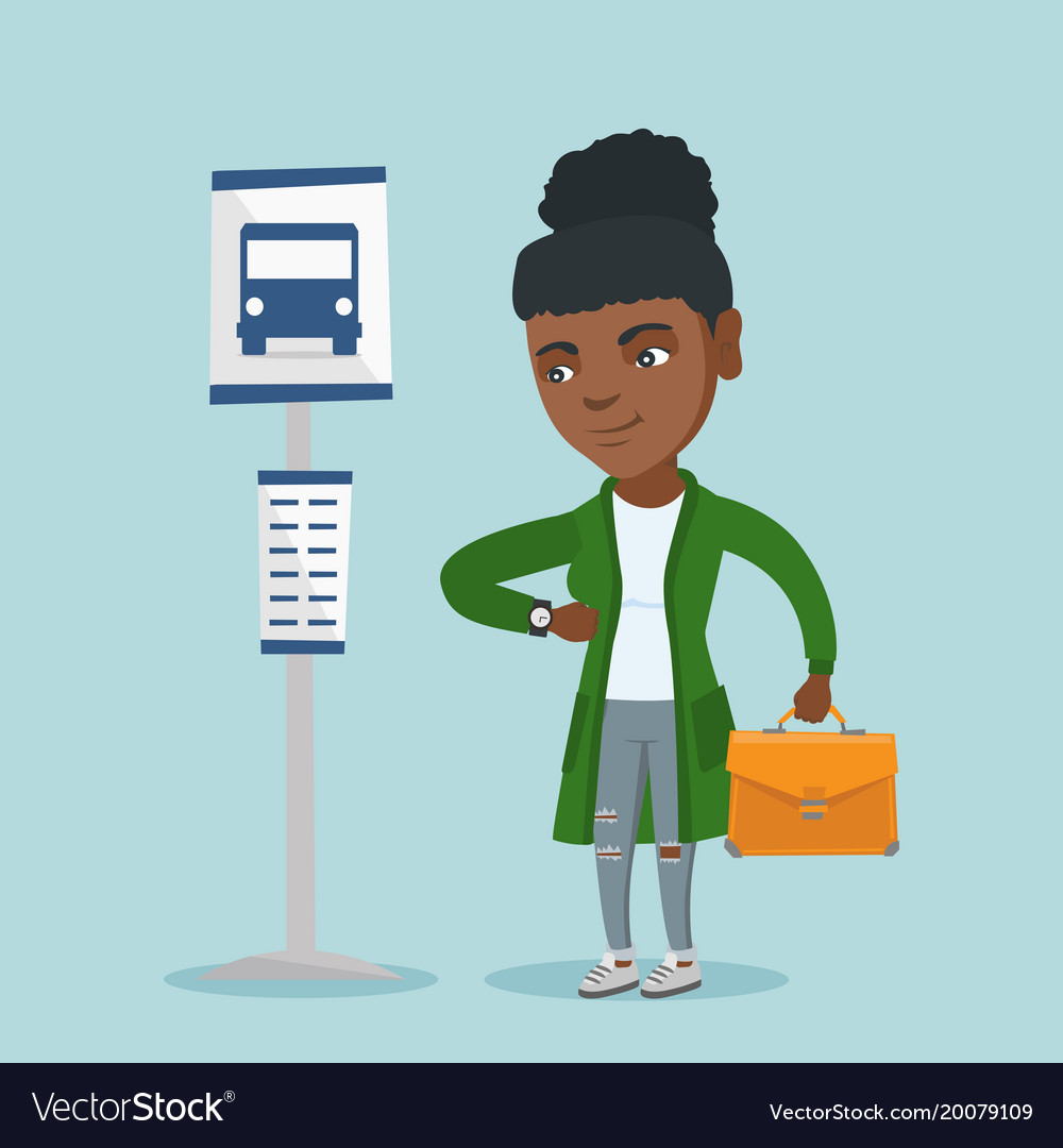 Woman waiting for bus clipart