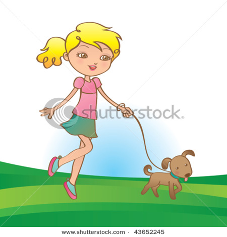 Woman walking her dog clipart vector library download Picture of a Little Cartoon Girl Walking Her Dog on a Leash ... vector library download