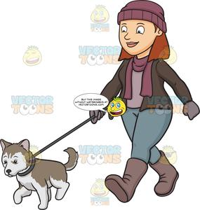 Woman walking her dog clipart svg stock A Woman Walking Her Siberian Husky Puppy svg stock