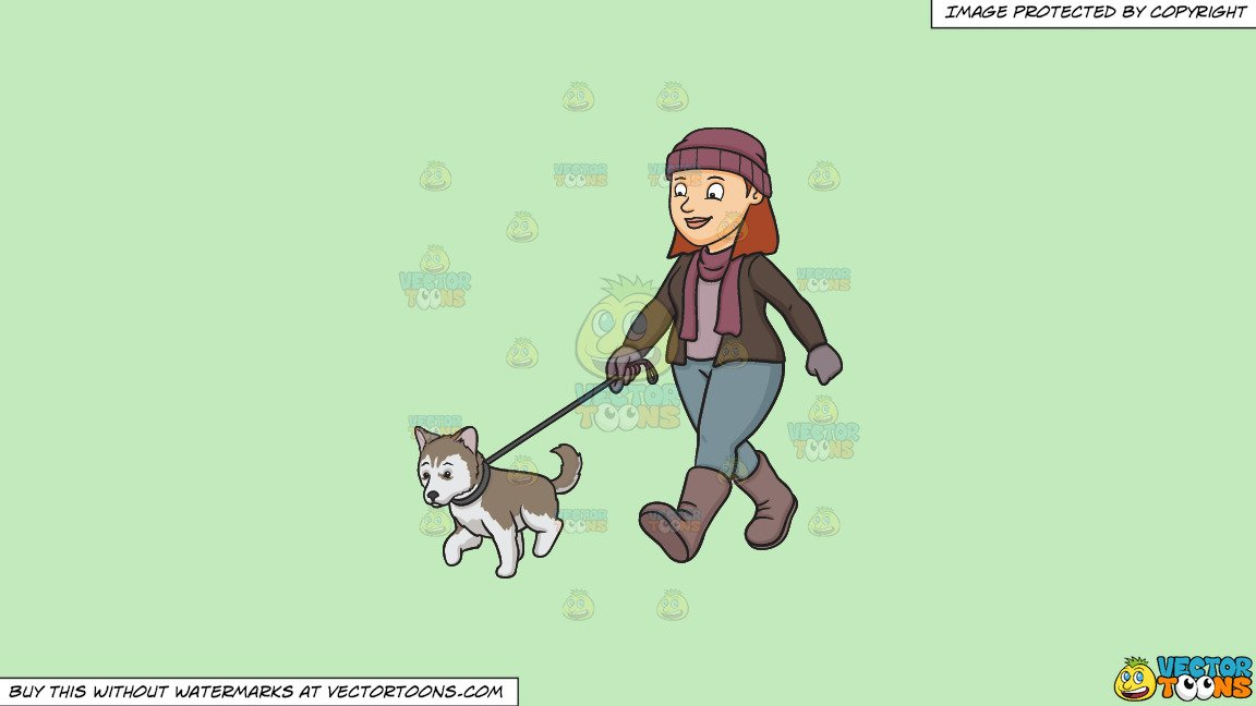 Woman walking her dog clipart vector royalty free Clipart: A Woman Walking Her Siberian Husky Puppy on a Solid Tea Green  C2Eabd Background vector royalty free