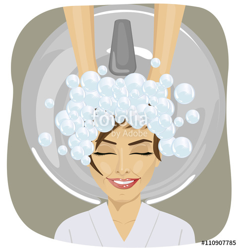 Woman washing hair free clipart png black and white download young woman with hairdresser washing head at hair salon ... png black and white download