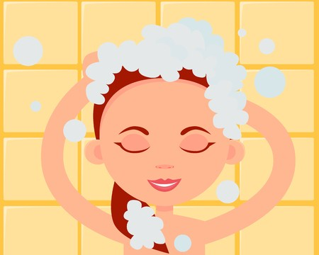 Woman washing hair free clipart picture royalty free download Young woman washing her hair with shampoo. Flat design ... picture royalty free download