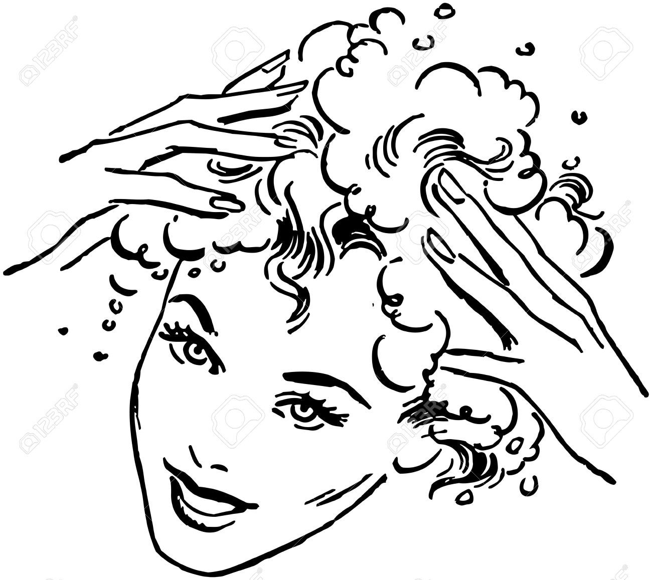 Woman washing hair free clipart banner black and white download Stock Vector | Hair stuff in 2019 | How to make shampoo ... banner black and white download