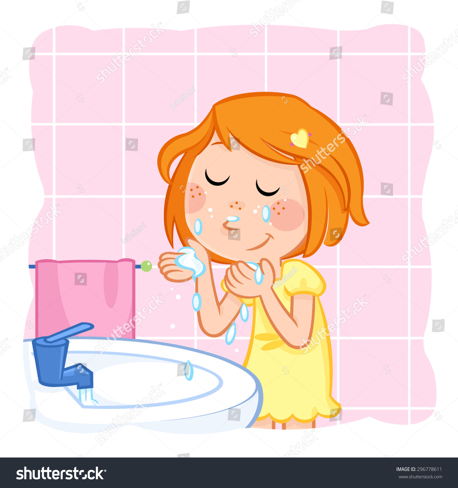 Woman washing her face clipart image library stock Clipart Of Woman Washing Face, Part Of Peo #348541 ... image library stock