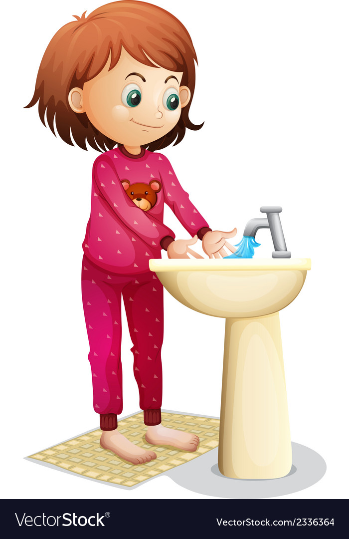 Woman washing her face clipart svg royalty free download A young woman washing her face svg royalty free download