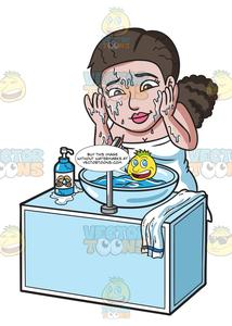 Woman washing her face clipart graphic free A Woman Washing The Soap Of Her Face graphic free