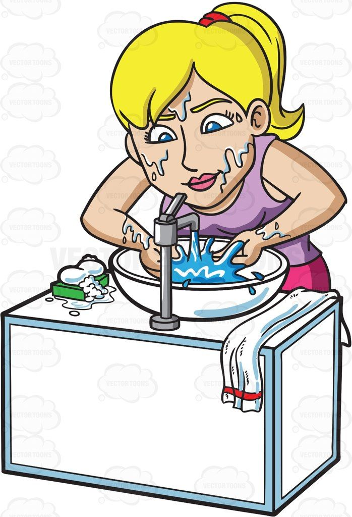 Woman washing her face clipart clipart freeuse download A blonde woman washing her face with a bar soap #cartoon ... clipart freeuse download