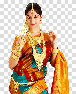 Woman wearing accessories clipart png free library Woman wearing gold-colored accessories and orange sari dress ... png free library
