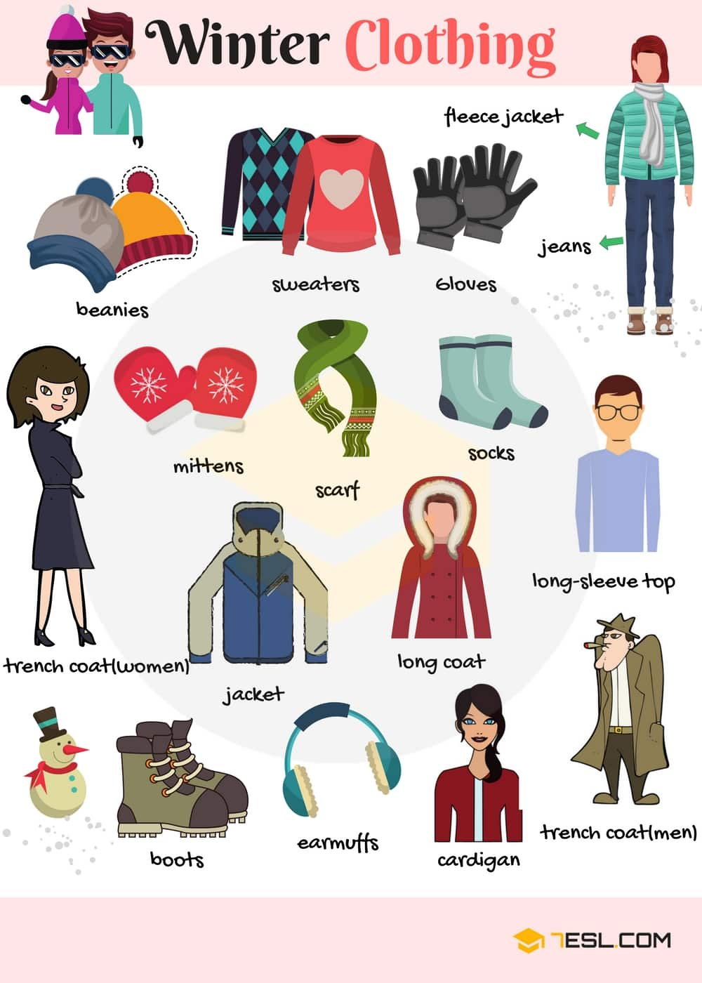 Woman wearing accessories clipart png black and white download List of Winter Clothes Names with Pictures - 7 E S L png black and white download