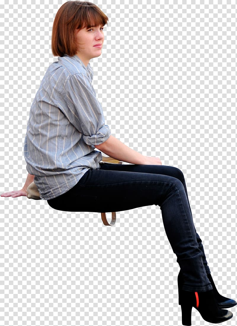 Woman wearing jeans clipart stock Woman wearing white and blue striped dress shirt and black ... stock