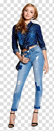 Woman wearing jeans clipart vector library Peyton List, woman wearing blue long-sleeved top and blue ... vector library