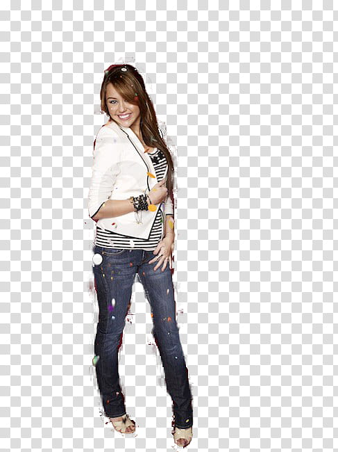 Woman wearing jeans clipart banner black and white download Miley Cyrus , woman wearing white jacket and blue denim ... banner black and white download